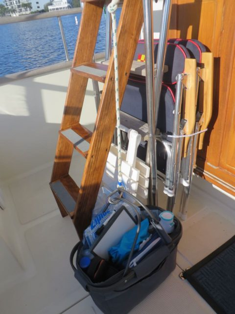 Al modified the ladder to the flybridge to make it easier for me (and others) but it was still helpful to use a basket and pulley system to carry up necessary items for a day of traveling.