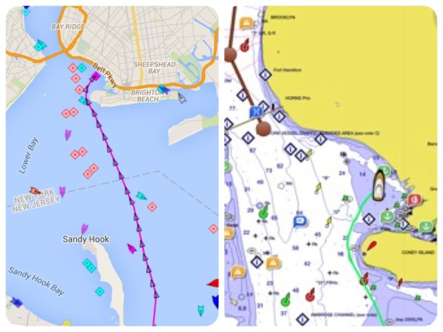 LEFT- AIS tracking Kindred Spirit past Sandy Hook and on to the anchorage just north of Coney Island. RIGHT - Gamin Blue Chart on the iPad shows the boat and the anchor symbol from Active Captain.