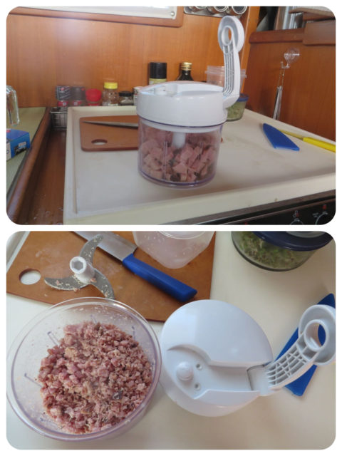 No space for a food processor, but I had this small hand crank one for occasional use. Ham salad.