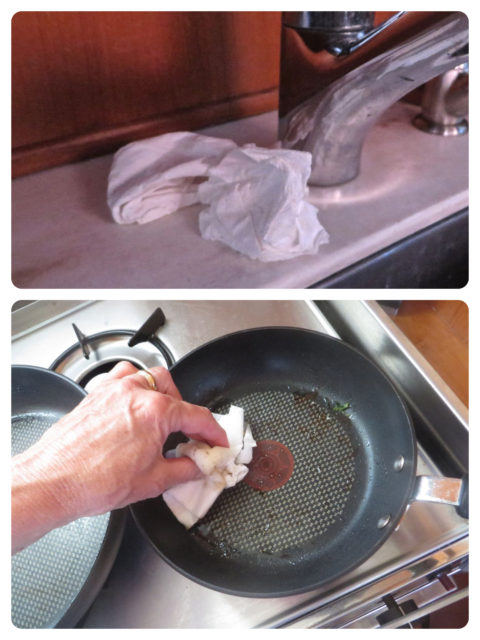 A gently used paper towel was always placed by the faucet at the galley sink to be used again either for wiping the floors or cleaning a cooking pan of grease before washing.