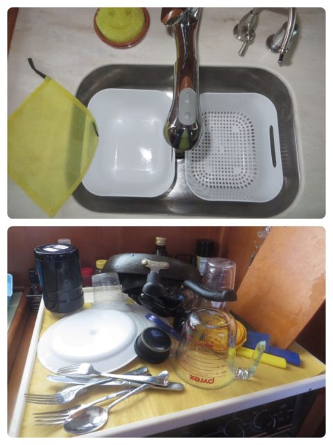 My two tiny IKEA dish pans, one with holes and one solid. After washing in the left pan, the clean but soapy dishes are moved to the right pan to drain. The dirty water in the left pan gets dumped out and the right draining pan is set inside the now empty left one. Dishes are rinsed with the spraying faucet. Lift the draining pan out and set the dishes to dry on the drying pad on the stovetop. The left dishpan now has soapy clean water to re-use for more washing. Get that?