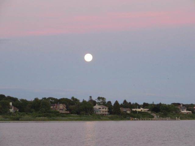 "A beautiful moon over Montauk, known as ""the end of the world."""
