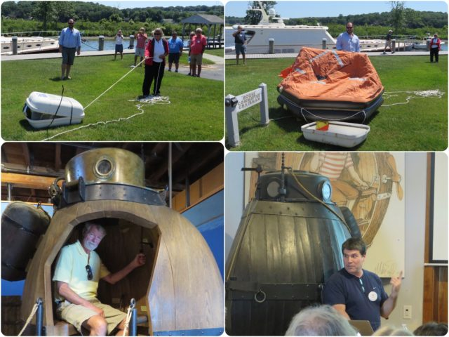 We saw a life raft deployed and a solar oven demonstration. AND, we heard a weather talk by the famous cruising weather guru, Chris Parker.