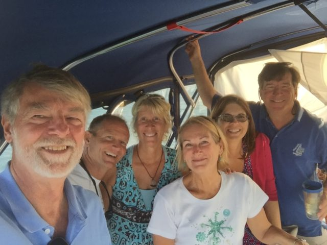 A group selfie - Kindred Spirit, Cutting Class, and Magnolia. Another happy hour(s) on the flybridge.