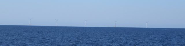 The Block Island Wind Farm in the distance.