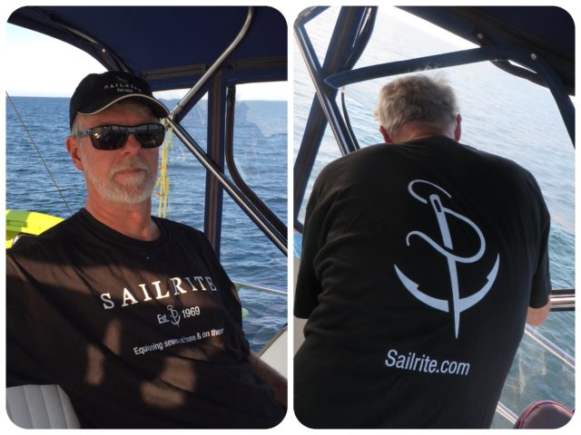 Al is really the sailor/seamster in our duo. At the Essex SCCA Gam, he received a t-shirt and cap from SailRite, one of his favorite online places. His winter plans include sewing chaps for the dinghy.