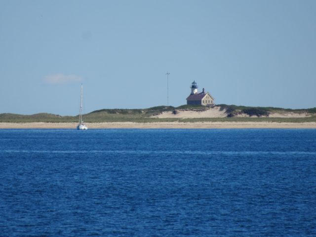As we approached Block, there were no whale sightings on this trip, but to the north we could see one of the BLock Island lighthouses.