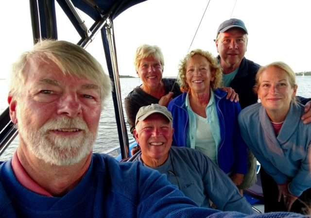 Another flybridge dinner gathering with the crews of Jallao (Dean and Mary Jo) and Gale Warning (LeeAnn and Greg)