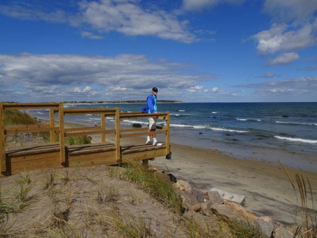 Al stood out on this wooden walkway that once went down to the beach.Hurricane Sandy destroyed it.
