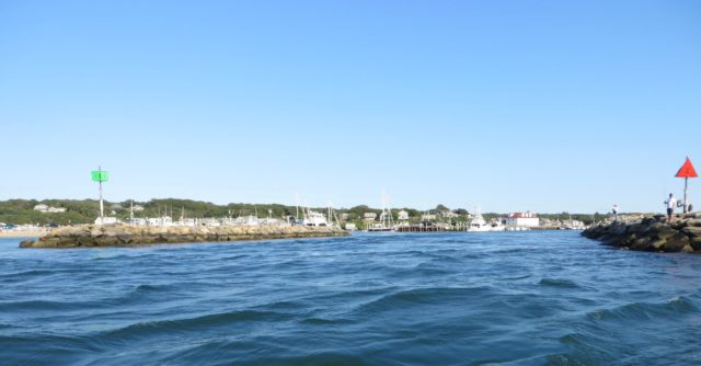 Menemsha entrance - quite a dinghy ride into the harbor if the current is strong.