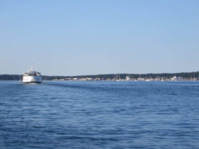 Dodging ferries as we pass by the Vineyard Haven harbor entrance.