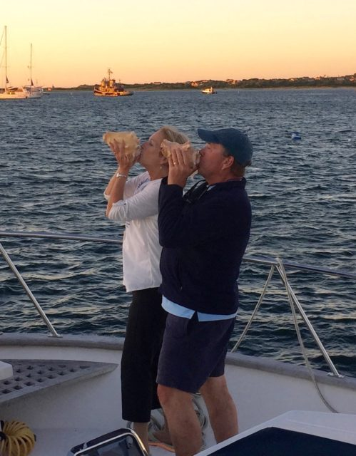 Sunset conch serenade with conch horns by Dean and me.