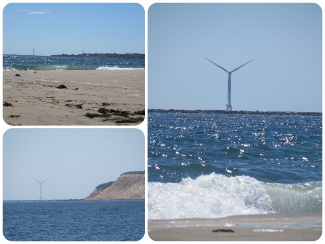 Sitting at Crescent Beach on the eastern shore, you can just see the new Block Island Wind Farm.
