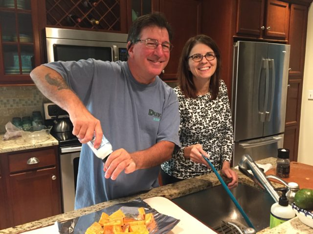 Anthony and Annette prepare a delicious dinner for us all. How often do you have guest like that??