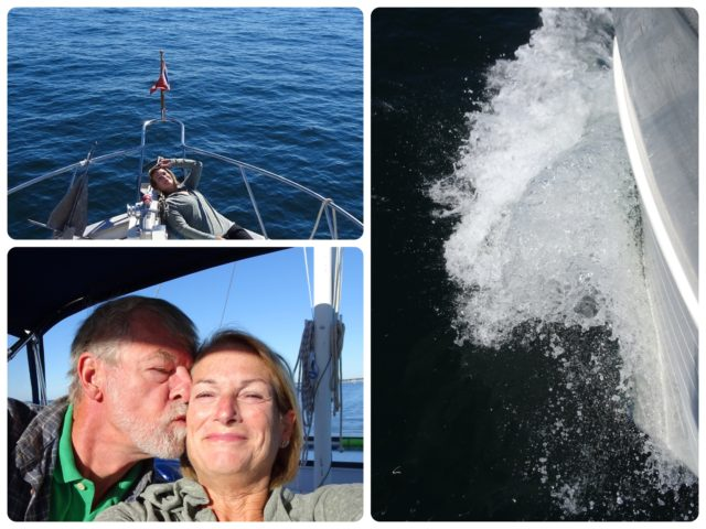 A birthday kiss, relaxing on the bow, water spray below the bow.