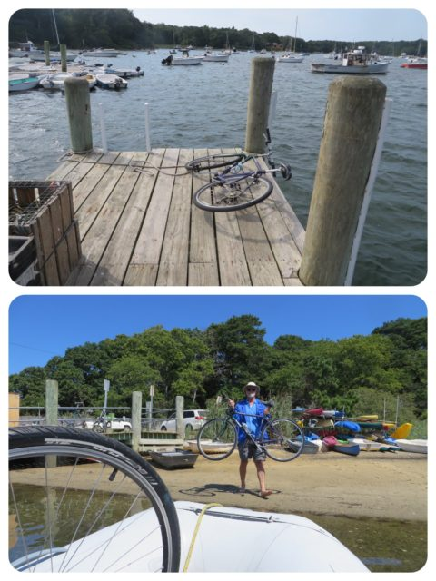 We had to get the bikes onto the dock and then AL went around to find a place for our dinghy amongst the either links.