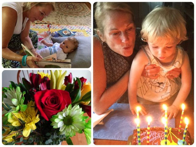 Flowers from my Al. Help from Caleb with the birthday candles. Addie joins the fun.
