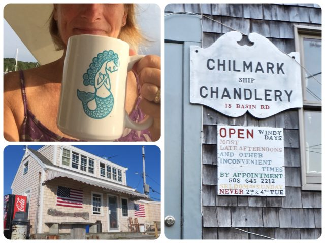 We have always loved that chandlery sign; it's been there for years. And that's my new big mug from Beetlebung. Just right for my morning coffee at home.