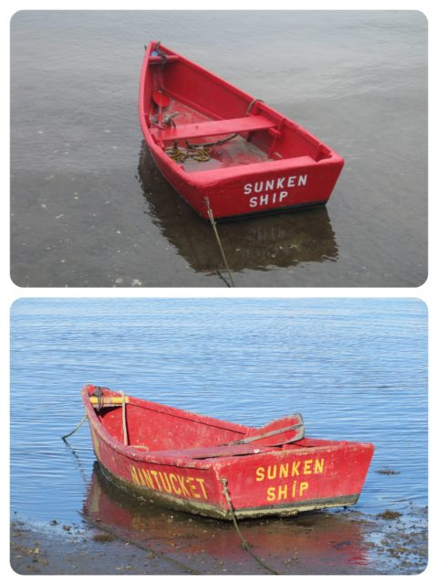 "This is a ""then and now"" photo. Looking through our older photos of Nantucket trips, I found the top photo and matched it the bottom that I took this year. IT's amusing to see that I photographed, unknowingly, so many years apart. It hasn't sunk in spite of its name."