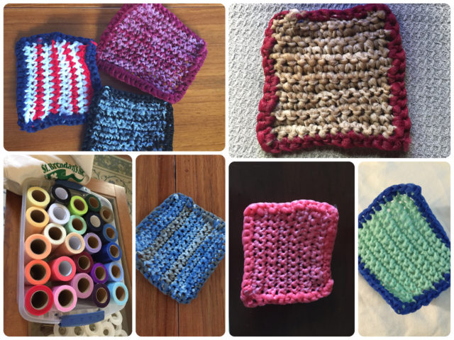My crochet scrubbies – I have my own haphazard way of doing this. I will never ever be a great crochet'er. I am sticking with single crochet in rectangular form.
