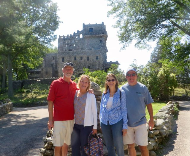 Tourist time! The four of us with Gillette Castle