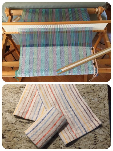 Top - the loom has been re-warped with a new project. Bottom - Finally finished the old project of 3 dish towels. Very absorbent, and I do really use them!